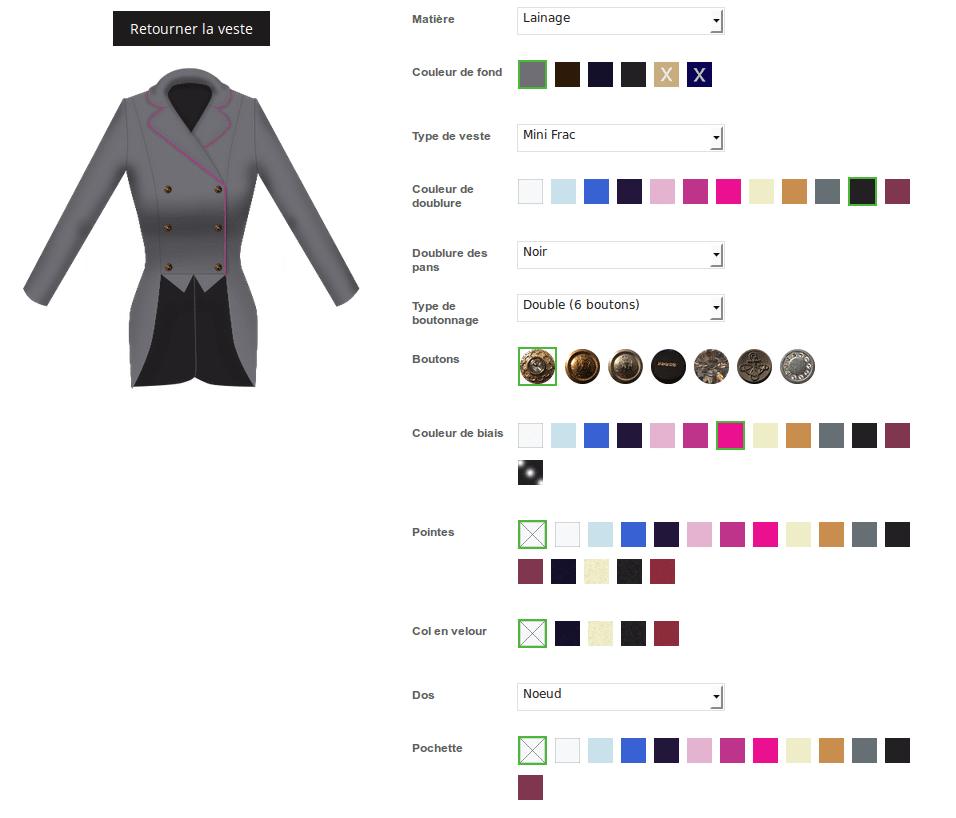 Options d'un vêtement personnalisable sous magento