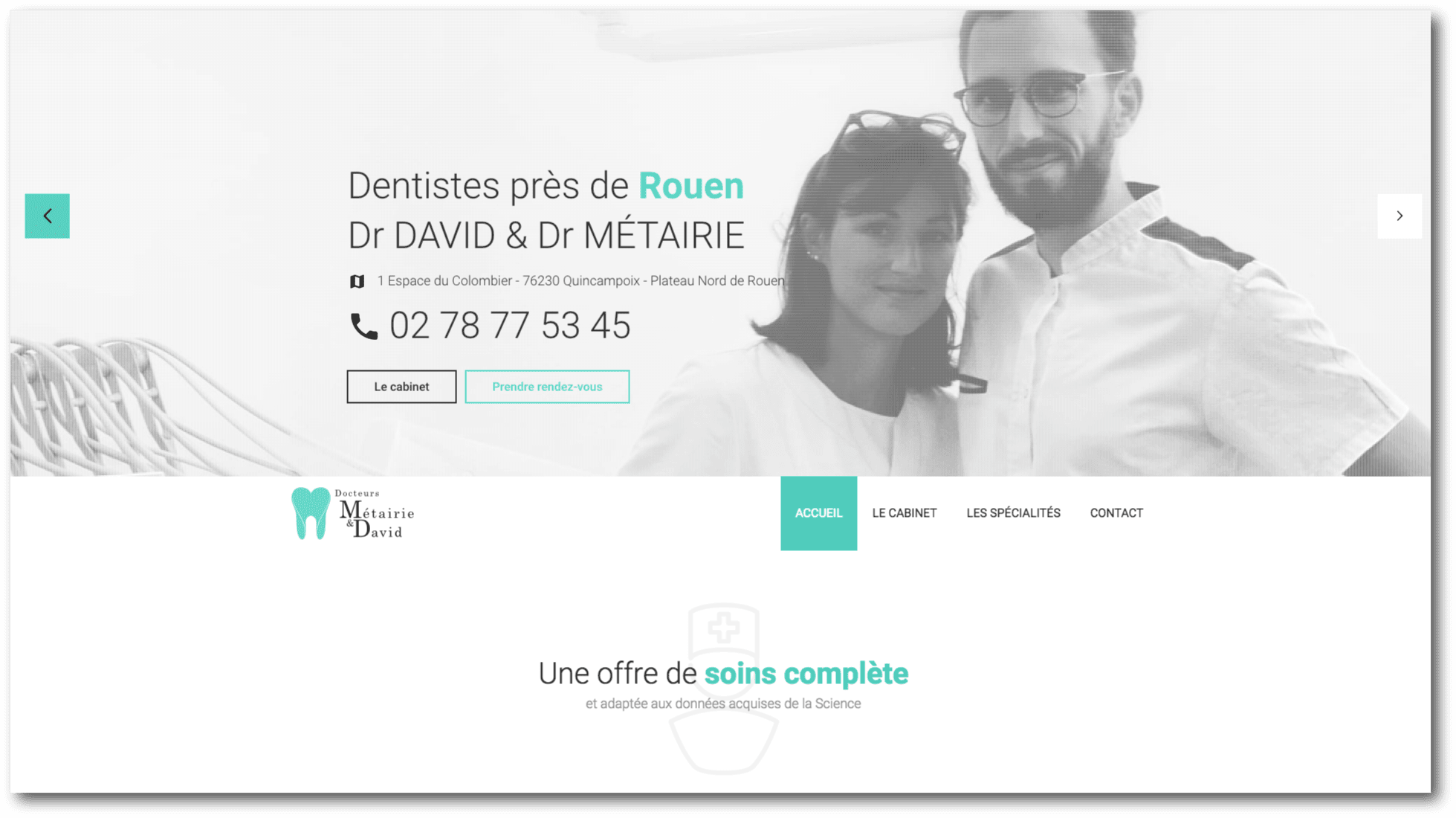 Homepage Site internet dentistes