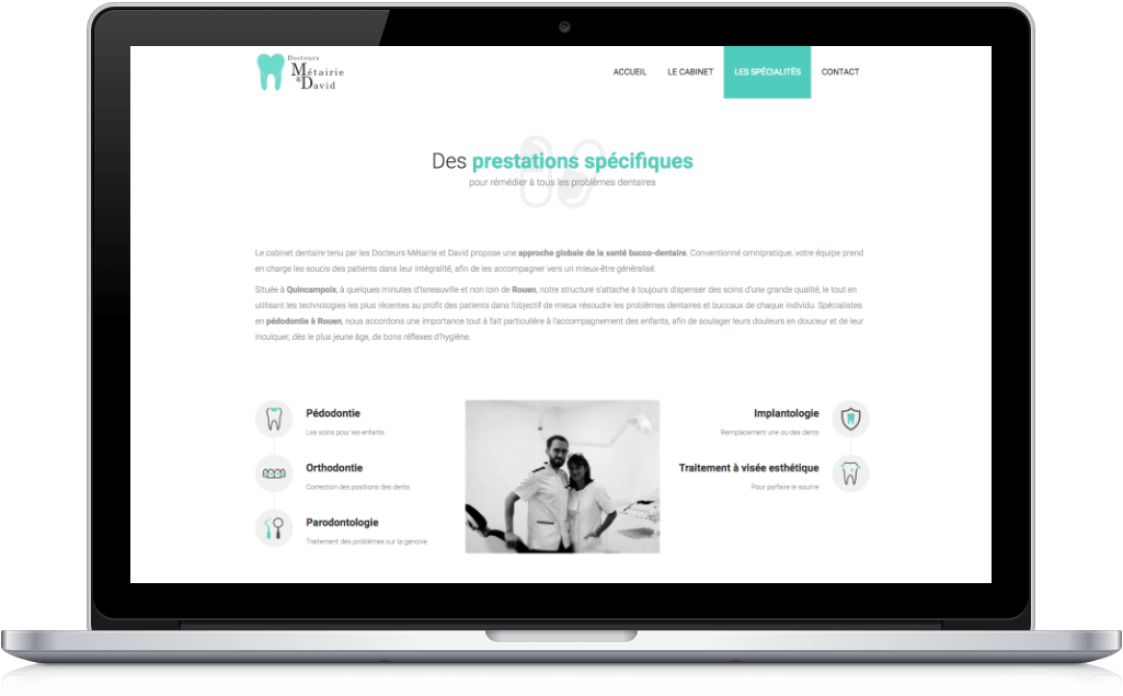 Screenshot site web dentiste