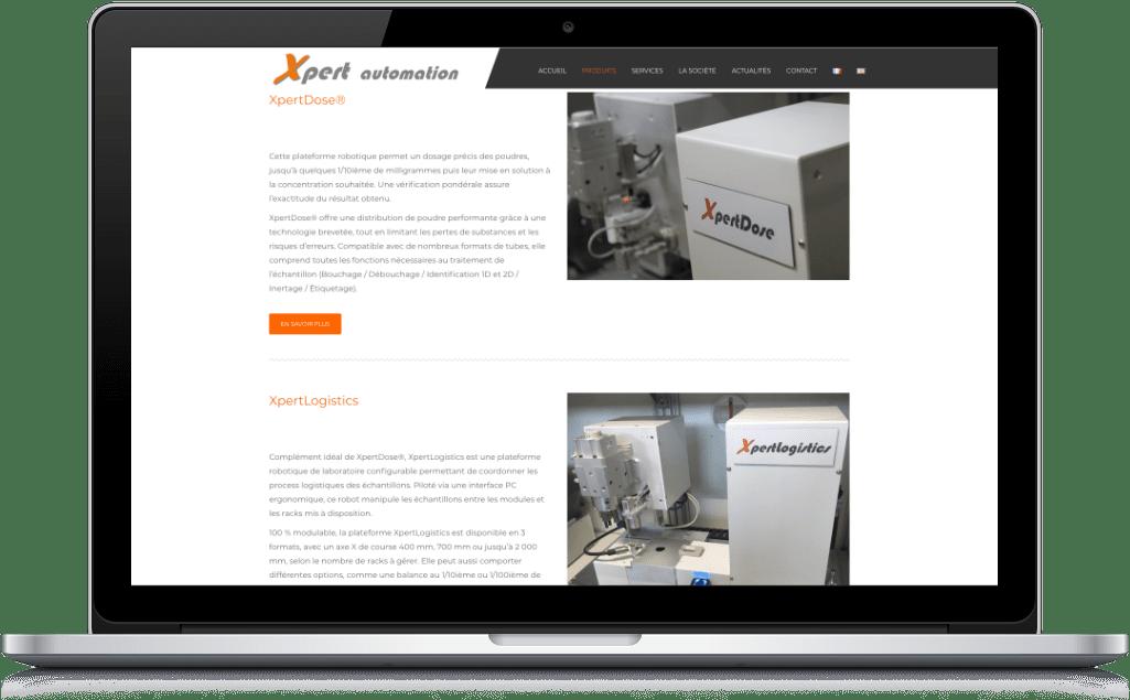Mockup page du site Xpert Automation