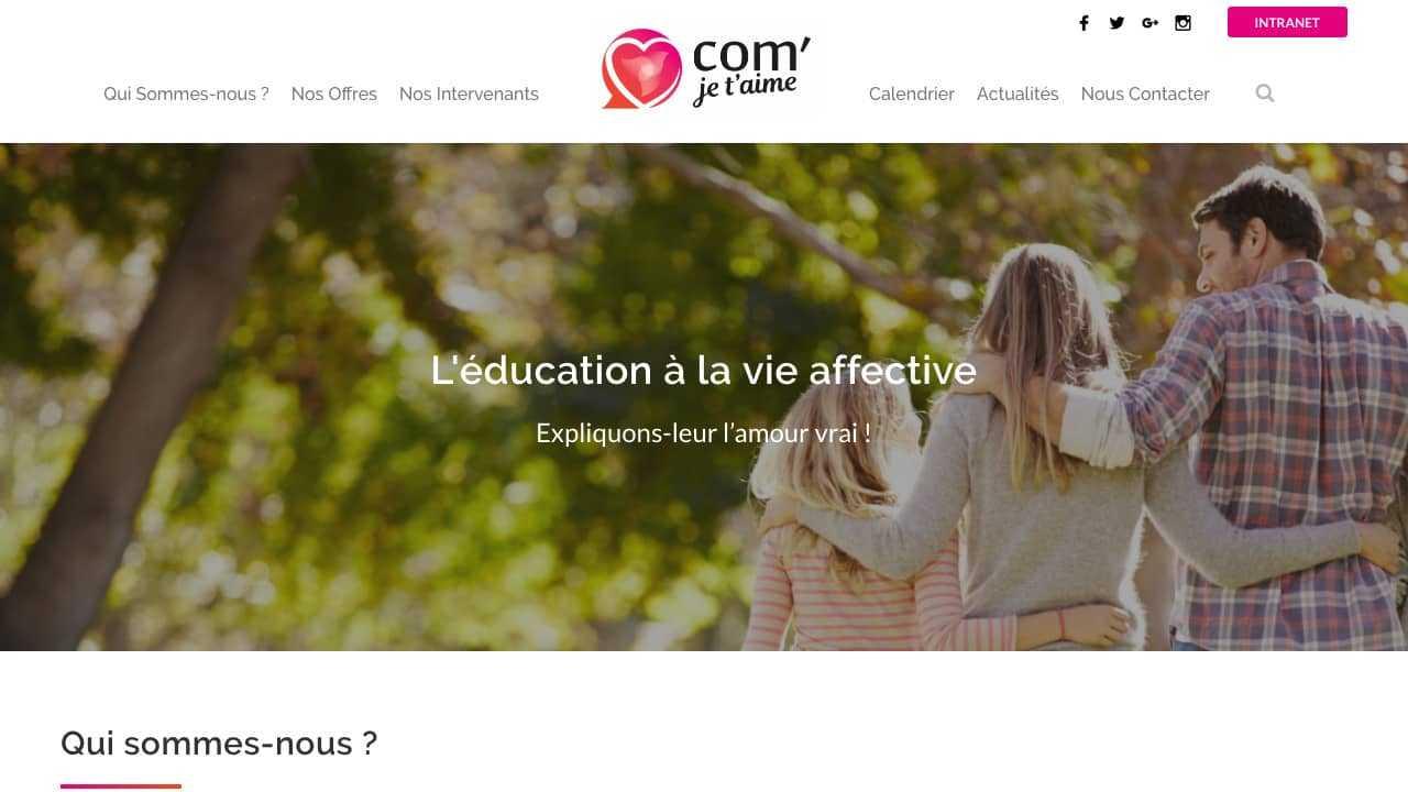 Ecran site internet Com' je t'aime