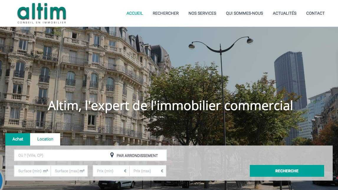 homepage site internet Altim Conseil