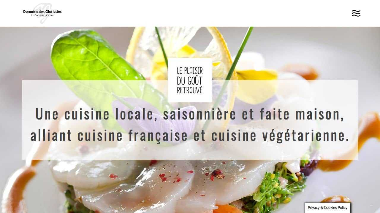 Impression d'écran du site internet Domaine des Gloriettes