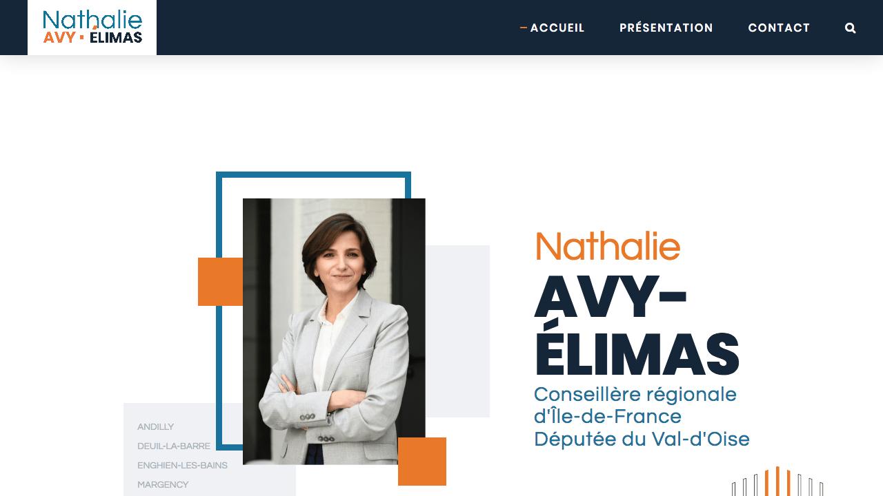 Capture d'écran de la page d'accueil Nathalie Elimas
