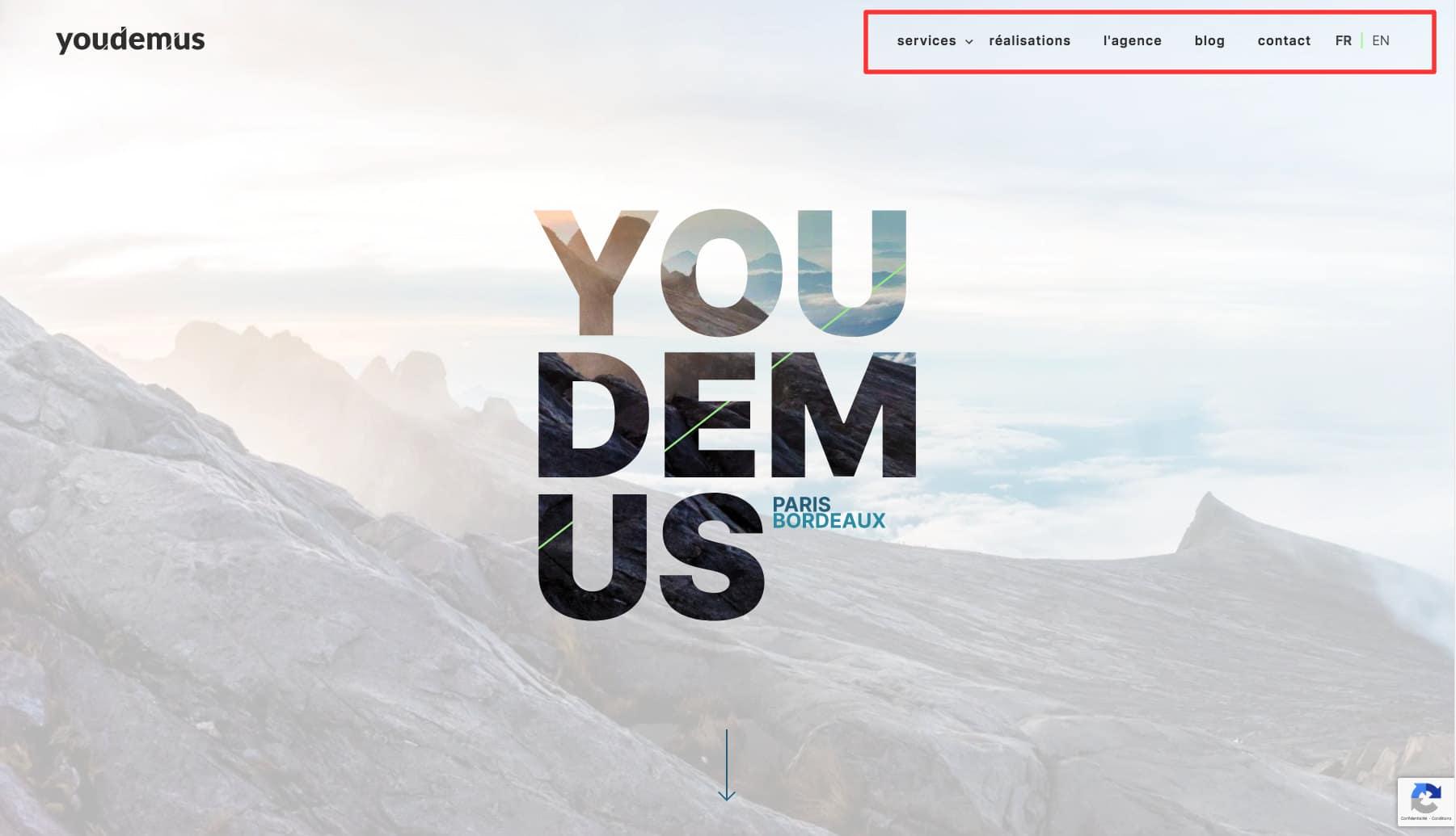 site web youdemus menu pages