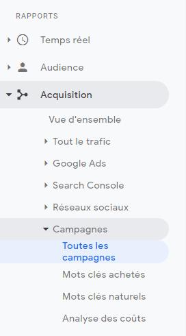 Campagnes Google Analytics