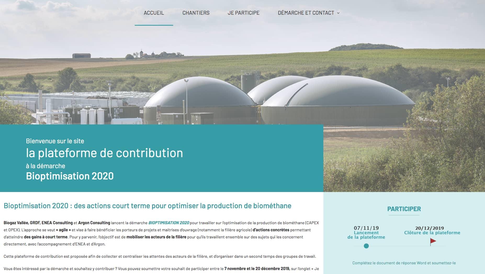 Capture d'écran de la plateforme de contribution à la démarche Bioptimisation 2020