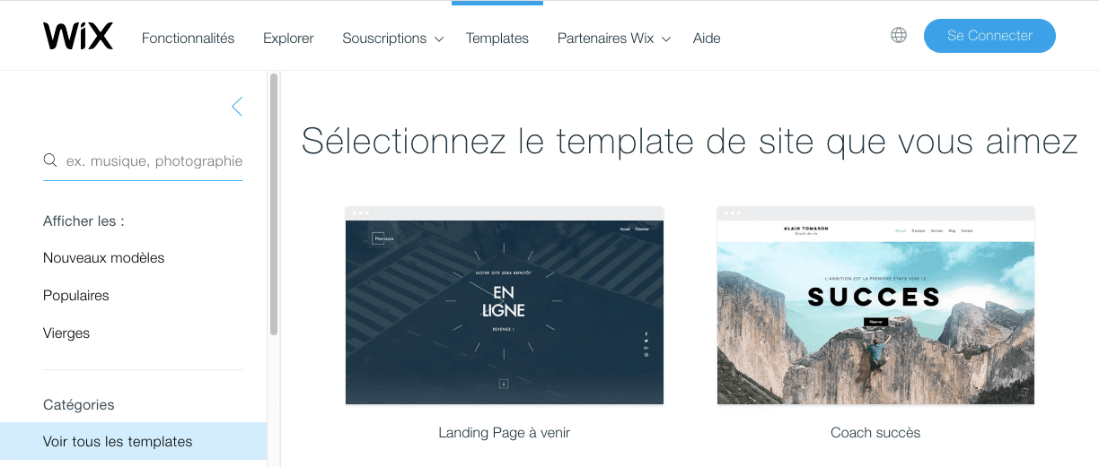 screen wix themes 1 1024x436 - WordPress VS. WIX : qui choisir pour créer son site Internet ?