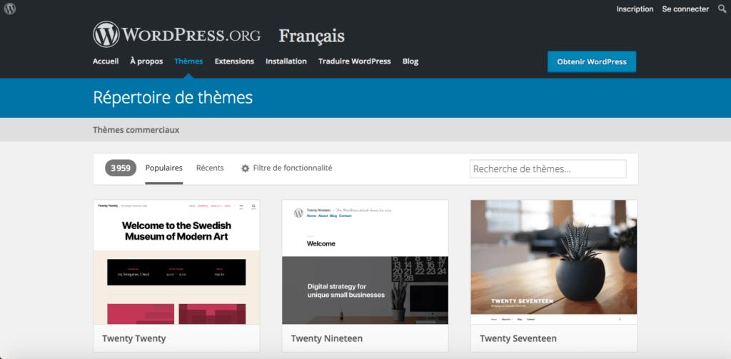 screen wp themes 1024x503 1 - WordPress VS. WIX: qui choisir pour créer son site Internet?