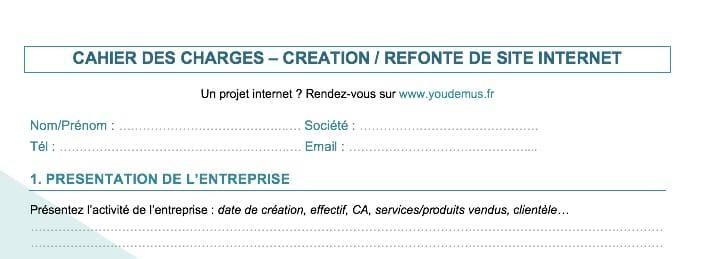 apercu cahier des charges youdemus - Guide complet pour la refonte d'un site internet