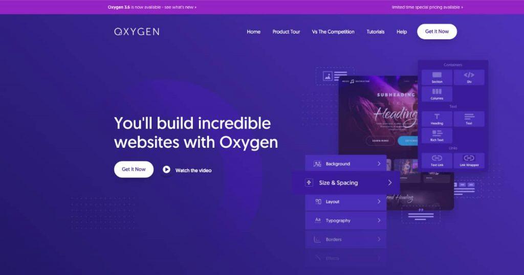 oxygen 1024x538 - Les constructeurs de pages WordPress, des solutions historiques à Oxygen builder