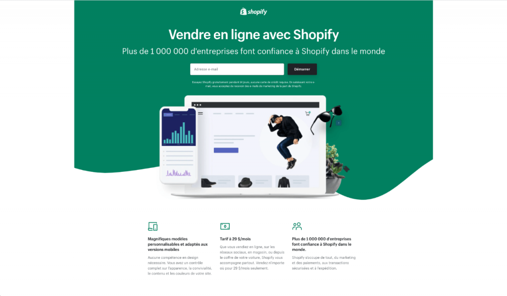 shopify 1024x598 - Quelle plateforme choisir pour créer son site e-commerce ?
